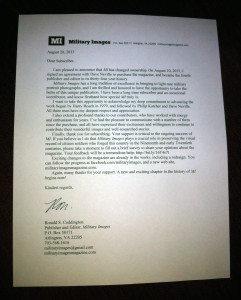 Military Images subscriber letter